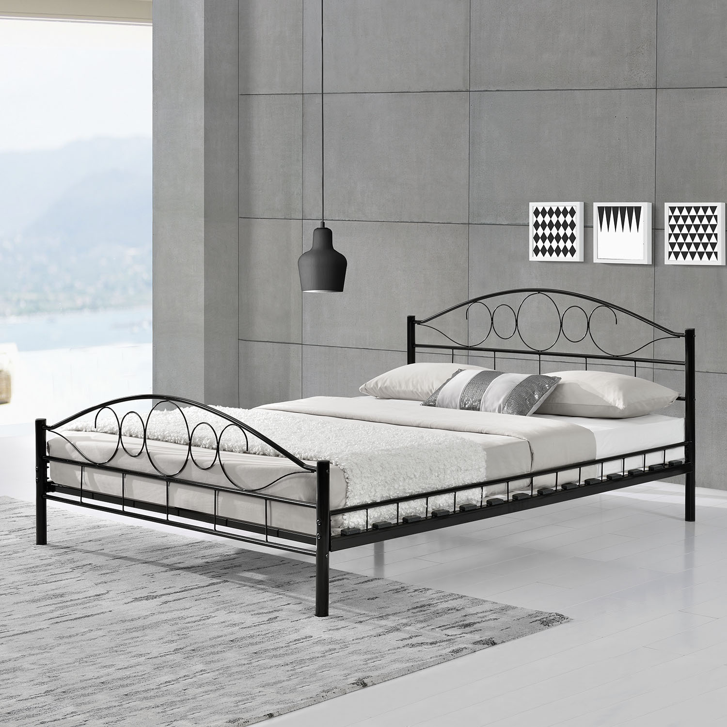 metallbett bettgestell doppelbett bettrahmen mit lattenrost metall bett neu ebay. Black Bedroom Furniture Sets. Home Design Ideas