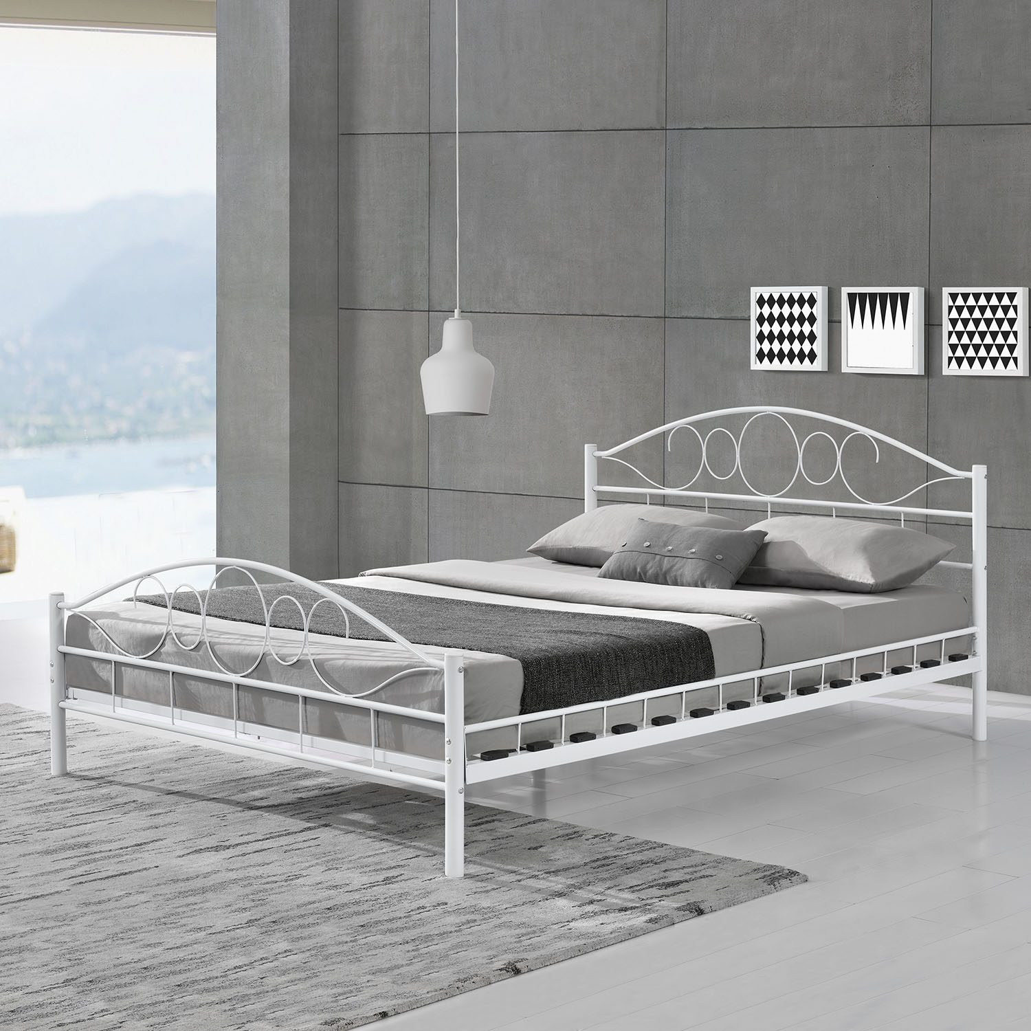 metallbett bettgestell doppelbett bettrahmen mit. Black Bedroom Furniture Sets. Home Design Ideas