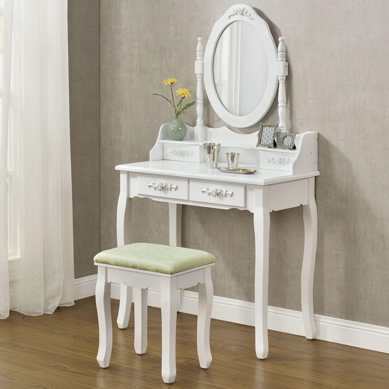 schminktisch kosmetiktisch frisiertisch mira kommode spiegel hocker wei artlife ebay. Black Bedroom Furniture Sets. Home Design Ideas