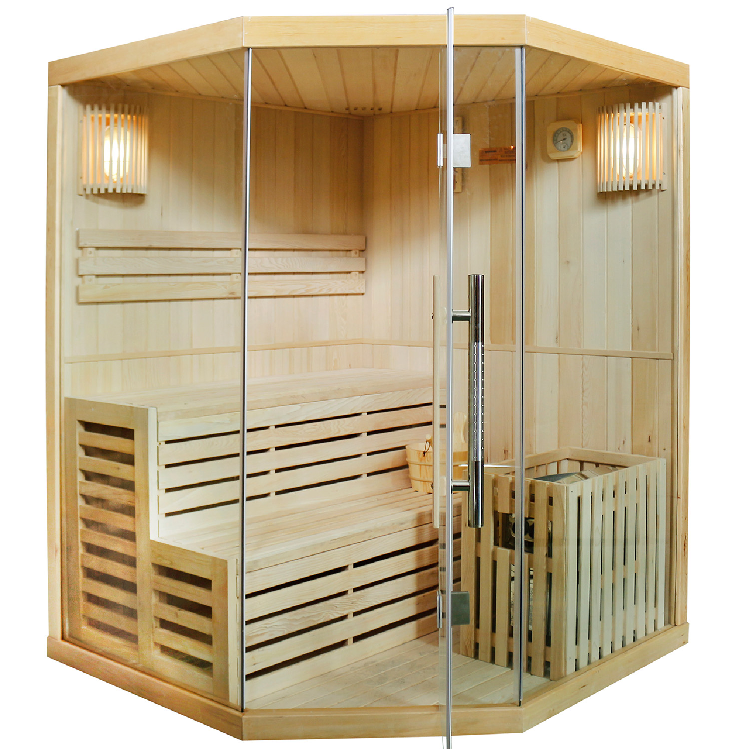 saunakabine sauna ecksauna traditionell harvia saunaofen artsauna neu ebay. Black Bedroom Furniture Sets. Home Design Ideas