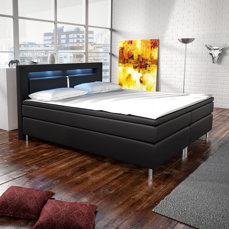 boxspringbett hotelbett ehebett led federkern topper kunstleder design artlife ebay. Black Bedroom Furniture Sets. Home Design Ideas