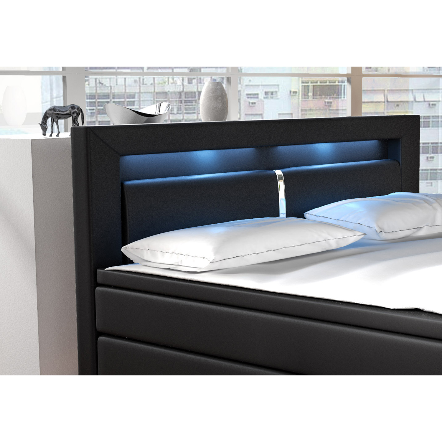 boxspringbett hotelbett ehebett led federkern topper kunstleder design artlife ebay. Black Bedroom Furniture Sets. Home Design Ideas