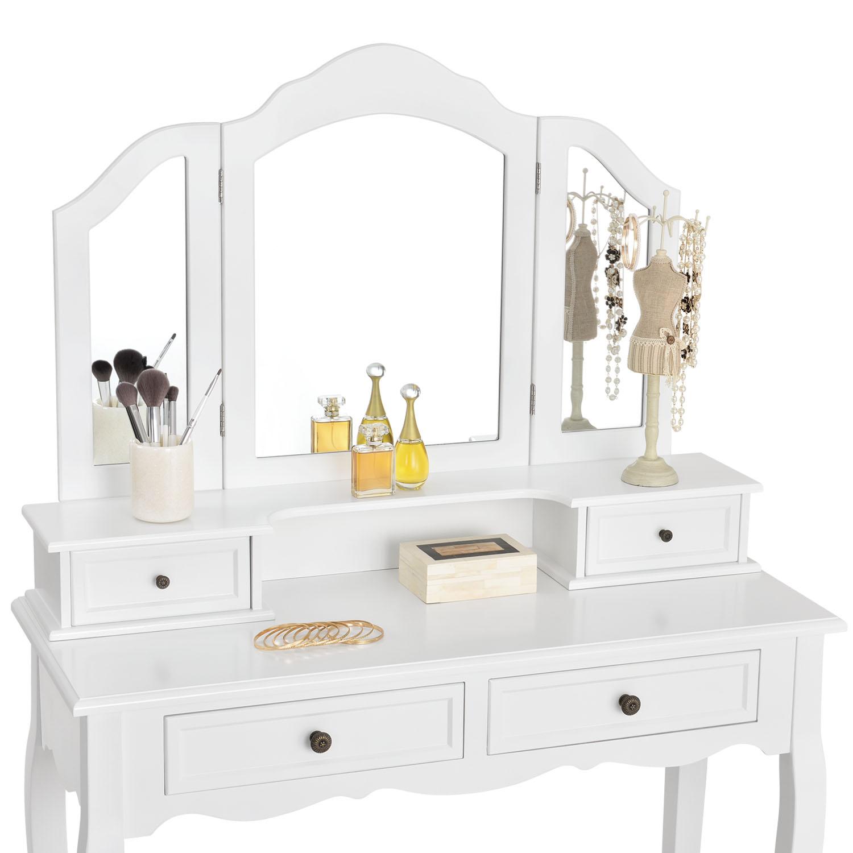 Schminktisch mit hocker kosmetiktisch vintage frisierkommode mit hocker weiss ebay for Schminktisch mit 3 spiegeln