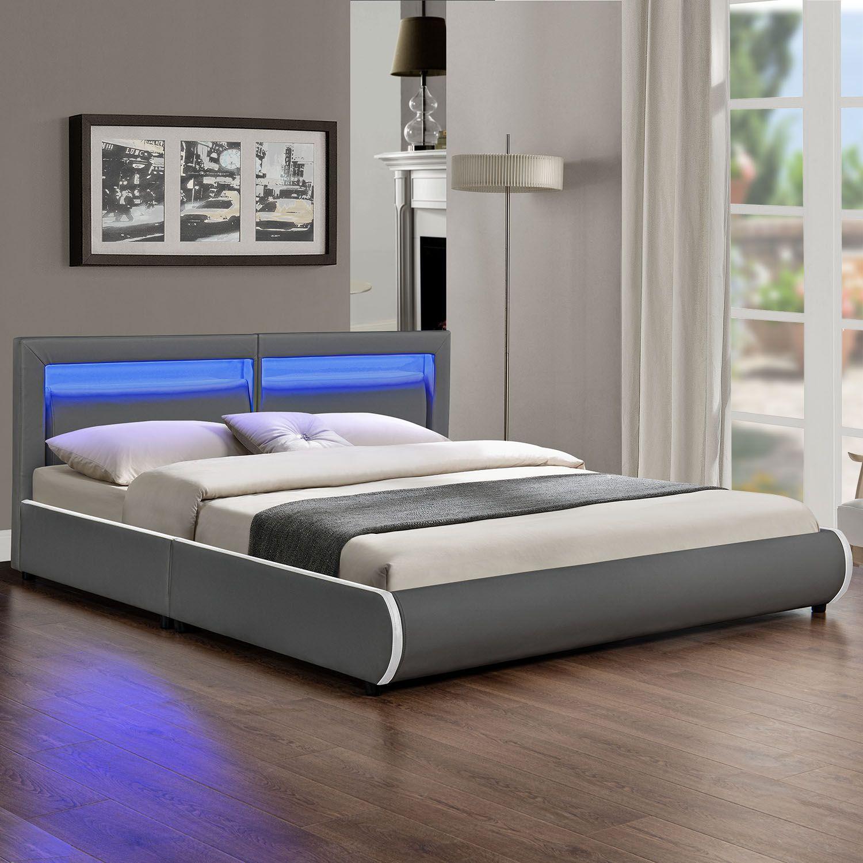 LED-Polsterbett-Kunstlederbett-Ehebett-Bett-Doppelbett-Designbett-Bettgestell