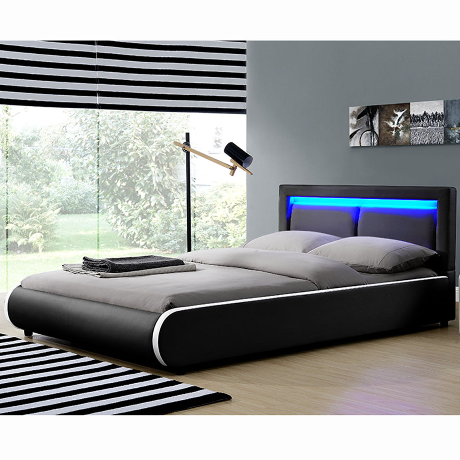 led polsterbett kunstlederbett ehebett bett doppelbett designbett bettgestell ebay. Black Bedroom Furniture Sets. Home Design Ideas