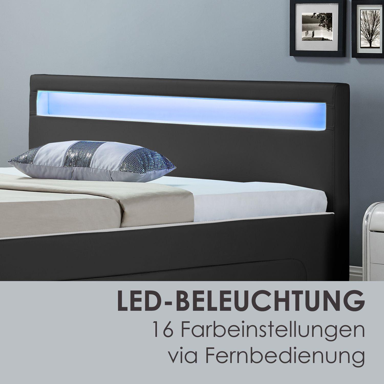 polsterbett led kunstlederbett doppelbett ehebett bettkasten design bettgestell ebay. Black Bedroom Furniture Sets. Home Design Ideas