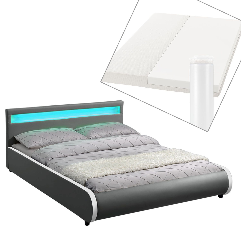 polsterbett bettgestell doppelbett kunstlederbett set 140 x 200 cm mit led neu 4260304765968 ebay. Black Bedroom Furniture Sets. Home Design Ideas