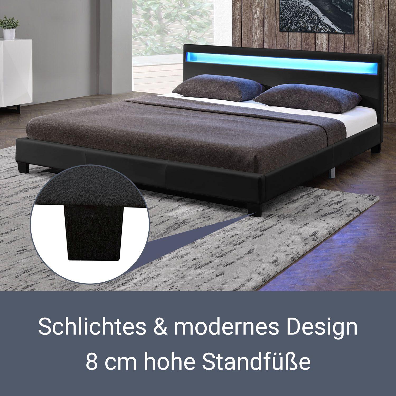 polsterbett doppelbett kunstlederbett mit led bettgestell matratze 140 x 200 cm ebay. Black Bedroom Furniture Sets. Home Design Ideas