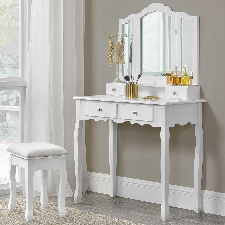schminktisch mit hocker spiegel vintage kosmetiktisch. Black Bedroom Furniture Sets. Home Design Ideas