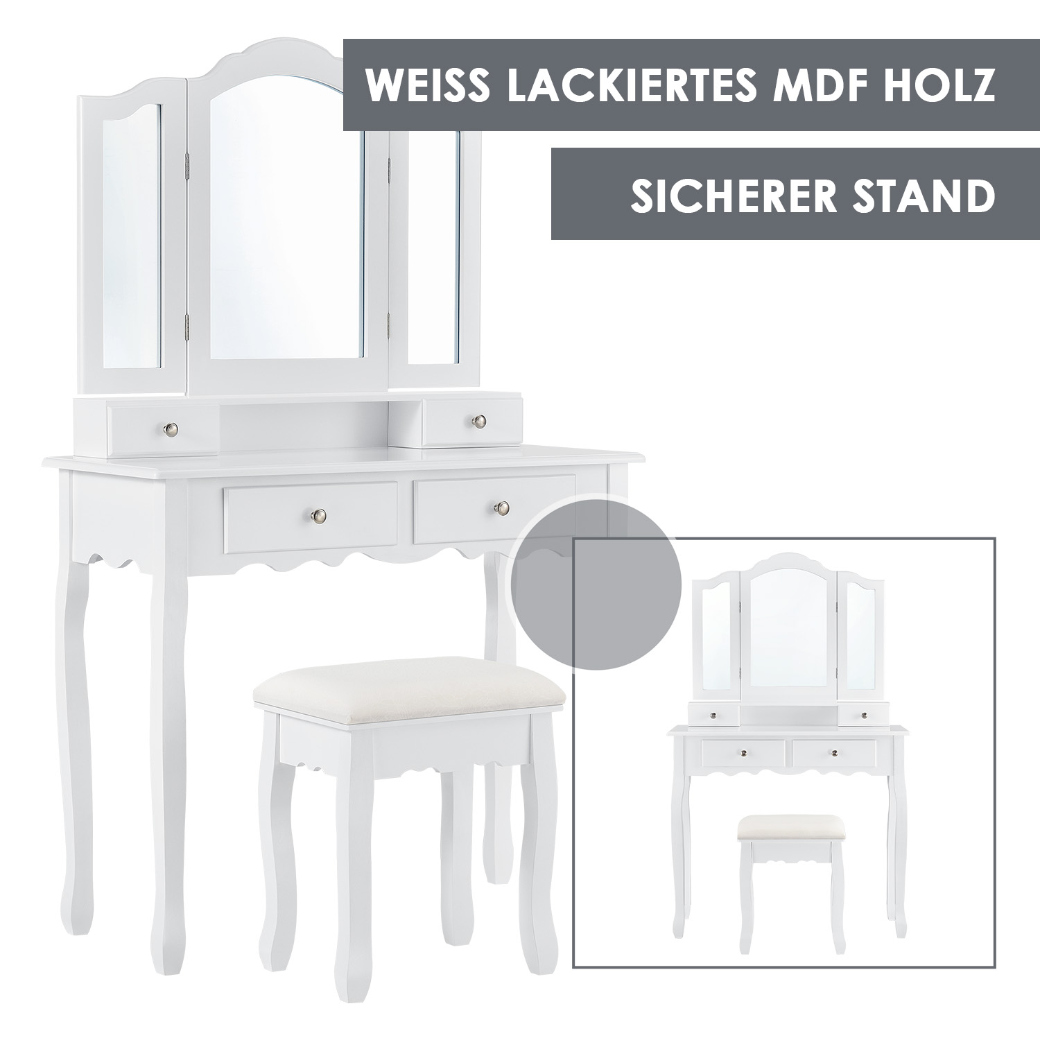 schminktisch mit hocker spiegel vintage kosmetiktisch frisierkommode weiss ebay. Black Bedroom Furniture Sets. Home Design Ideas