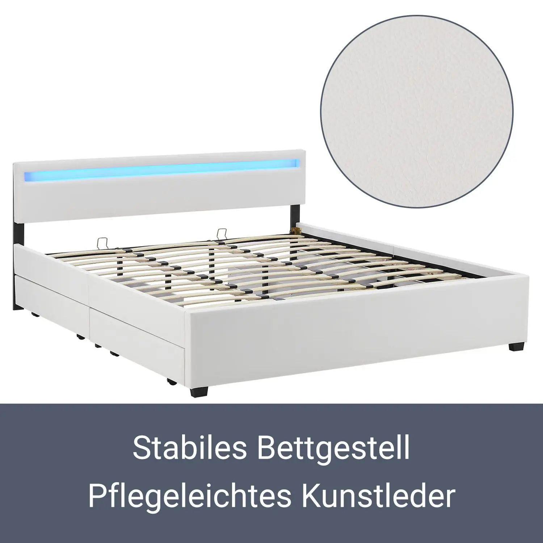 polsterbett doppelbett bettkasten kunstlederbett matratze bettgestell 180x200 cm ebay. Black Bedroom Furniture Sets. Home Design Ideas