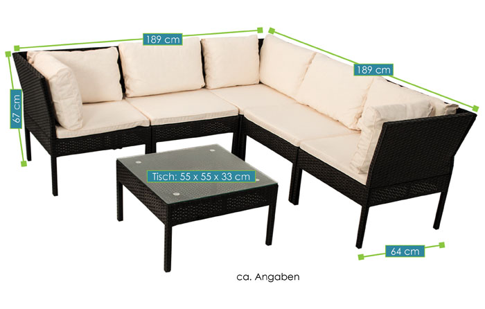 Polyrattan Gartenmöbel Ecksofa Lounge Rattan Sitzgruppe Sitzgarnitur