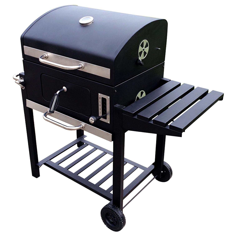 holzkohlegrill bbq smoker grill grillwagen barbecue holzkohle gartengrill ablage 4260304767214. Black Bedroom Furniture Sets. Home Design Ideas
