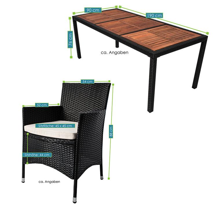 polyrattan gartenm bel essgruppe rattan esstischgruppe gartenset sitzgruppe neu ebay. Black Bedroom Furniture Sets. Home Design Ideas