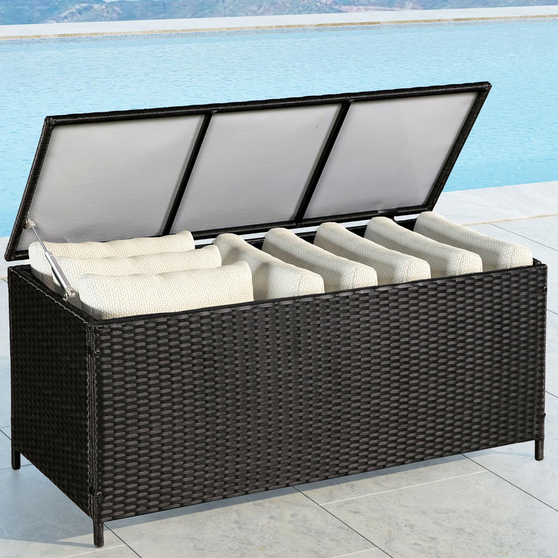 auflagenbox polyrattan kissenbox gartenbox gartentruhe kiste aufbewahrungsbox ebay. Black Bedroom Furniture Sets. Home Design Ideas