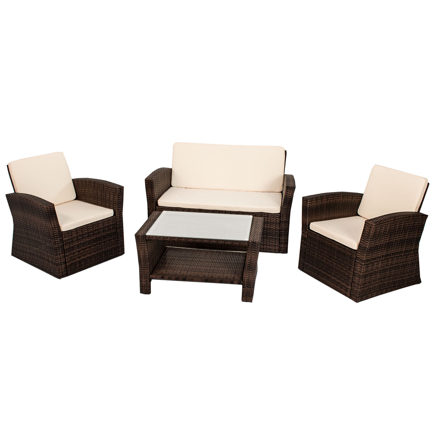 gartenm bel polyrattan lounge gartenset rattan sitzgruppe garnitur palm beach ebay. Black Bedroom Furniture Sets. Home Design Ideas