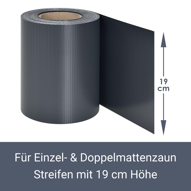 35m PVC Zaunfolie Sichtschutz Doppelstabmatten Streifen Folie grau