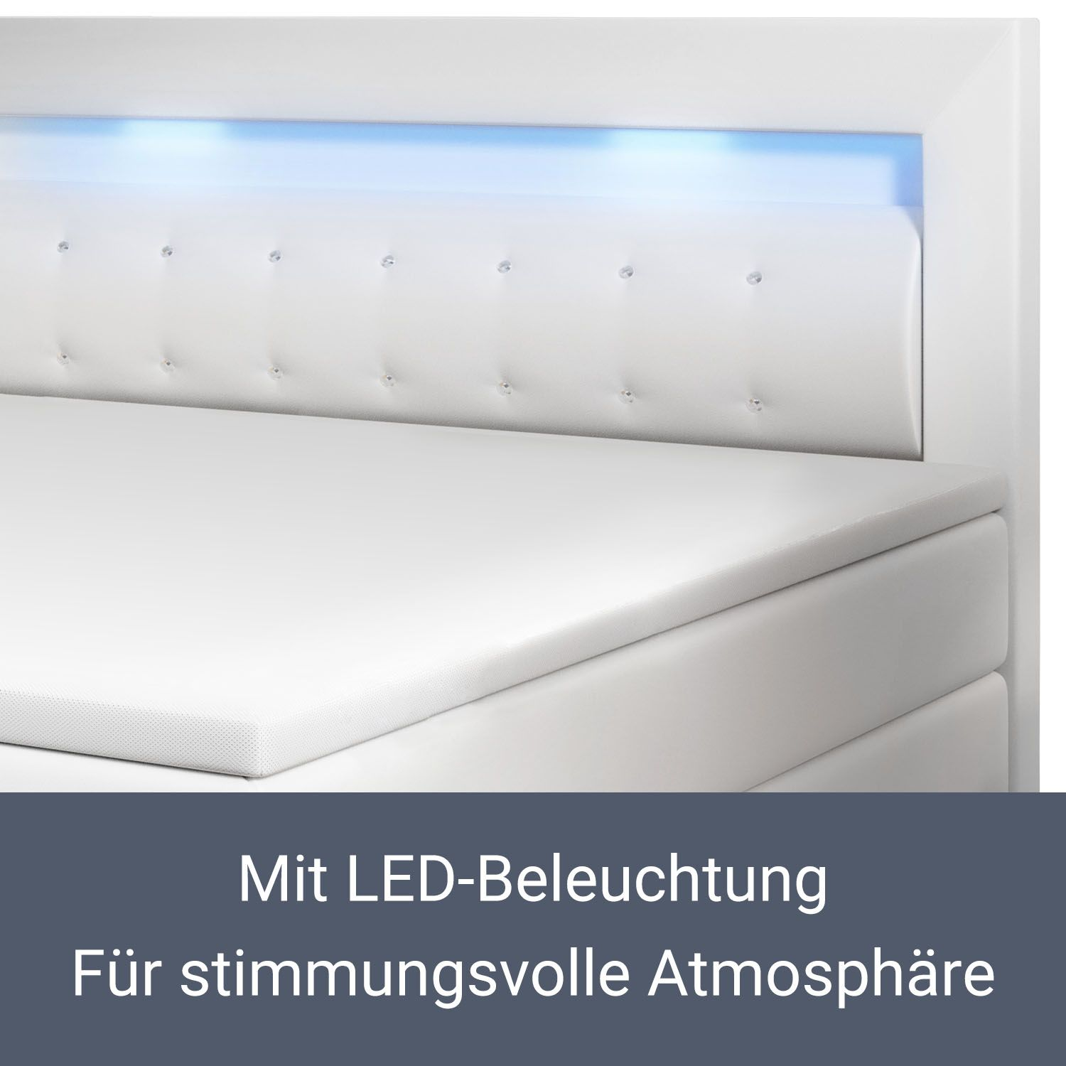 boxspringbett design hotelbett led topper federkern 140 180 x 200 cm pu leder ebay. Black Bedroom Furniture Sets. Home Design Ideas
