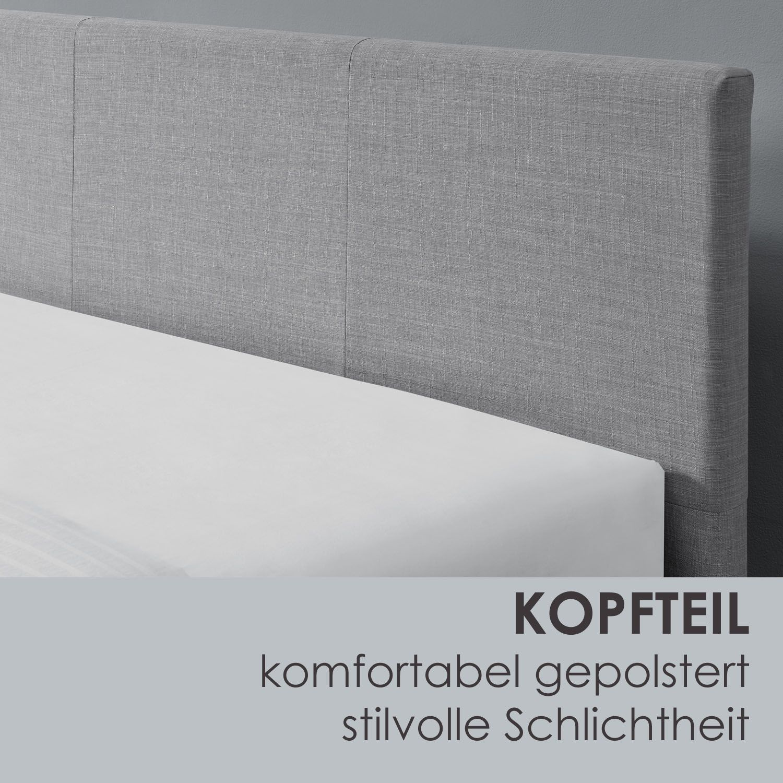 Abmessungen vom Polsterbett Toledo - 140 x 200 cm - hellgrau von ArtLife
