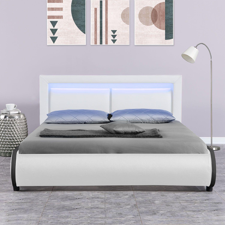 polsterbett kunstlederbett murcia doppelbett led bettgestell matratze 140x200 cm ebay. Black Bedroom Furniture Sets. Home Design Ideas