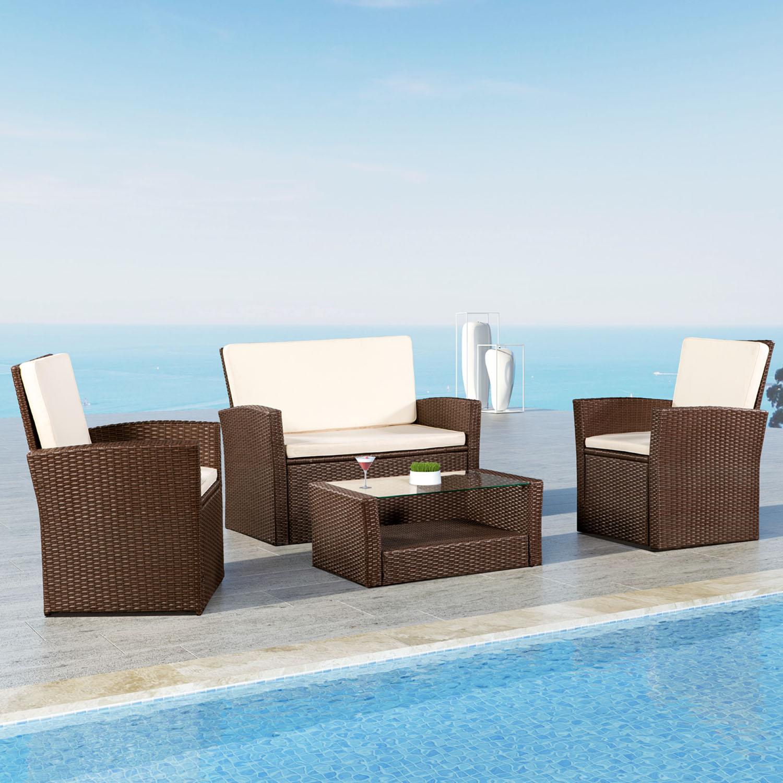 Gartenmobel Polyrattan Lounge Gartenset Poly Rattan Sitzgruppe Braun