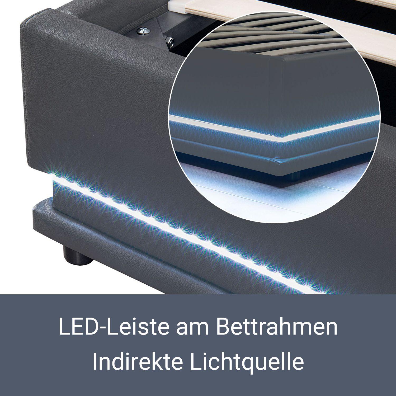 polsterbett led doppelbett bett bettgestell lattenrost kunstlederbett bettkasten ebay. Black Bedroom Furniture Sets. Home Design Ideas