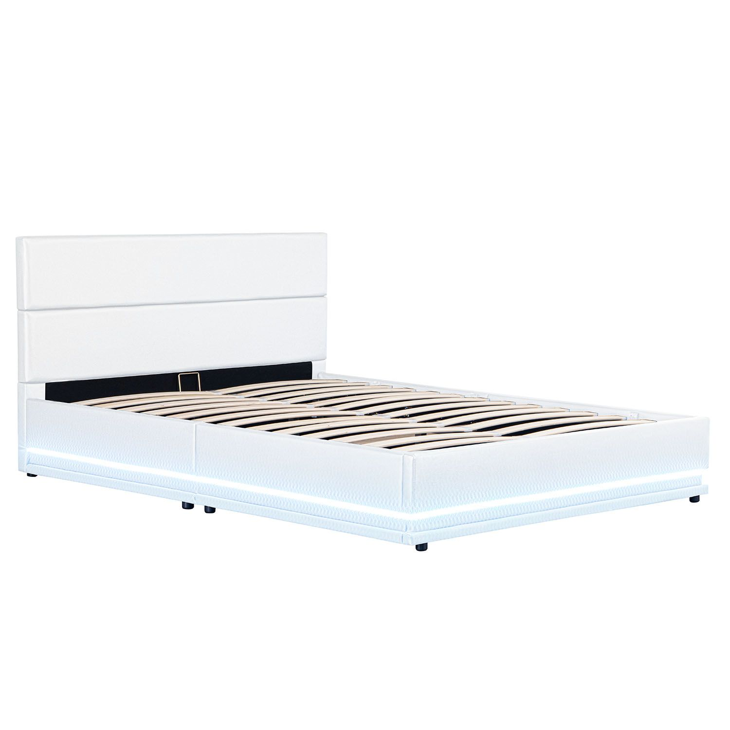 polsterbett led doppelbett bett bettgestell lattenrost kunstlederbett bettkasten ebay. Black Bedroom Furniture Sets. Home Design Ideas