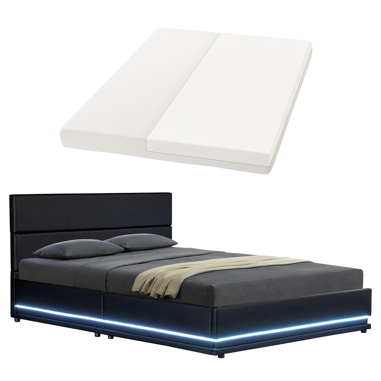 Polsterbett kunstlederbett mit led bettkasten bettgestell for Einfache bettgestelle