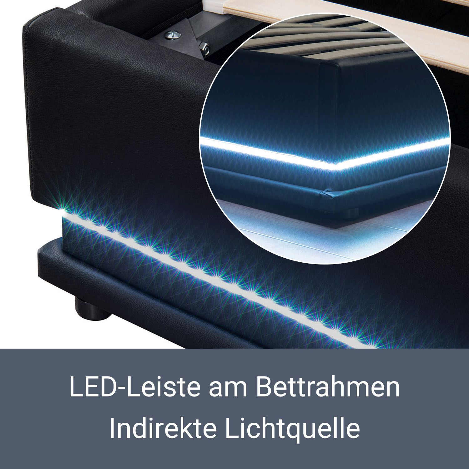 polsterbett kunstlederbett mit led bettkasten bettgestell matratze 140 x 200 cm ebay. Black Bedroom Furniture Sets. Home Design Ideas