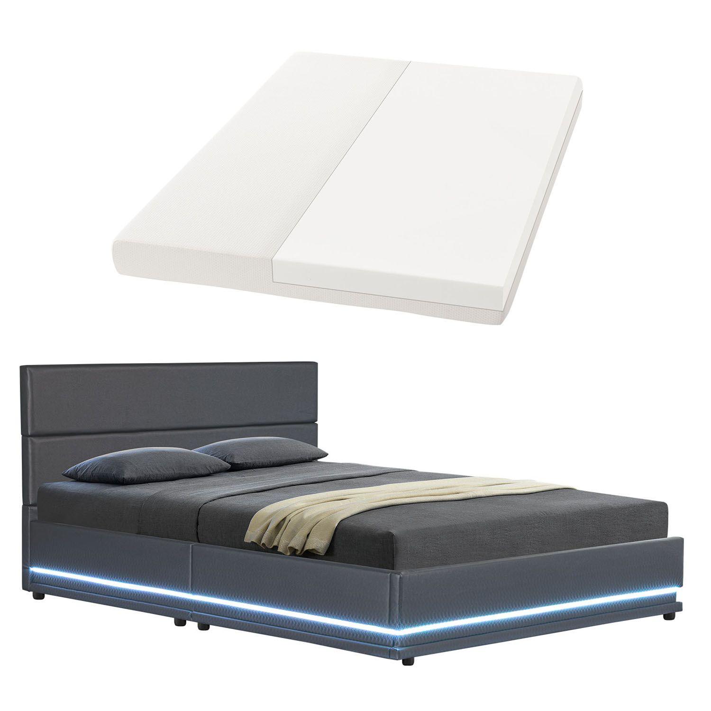 polsterbett kunstlederbett mit led bettgestell matratze bettkasten 180 x 200 cm 4260304768778 ebay. Black Bedroom Furniture Sets. Home Design Ideas