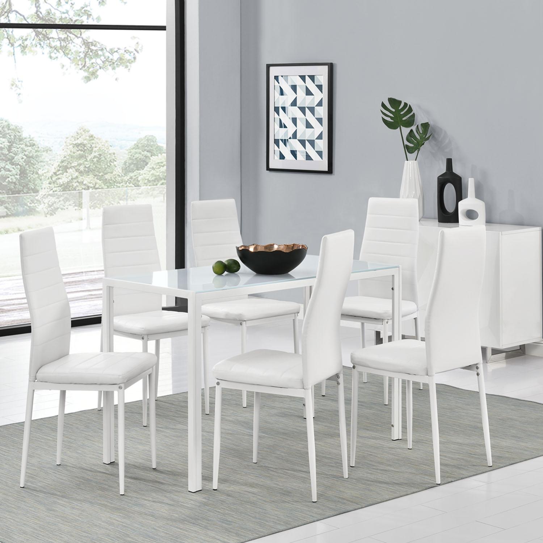 essgruppe sitzgruppe esstisch set weiss tischset st hle esszimmergarnitur metall ebay. Black Bedroom Furniture Sets. Home Design Ideas