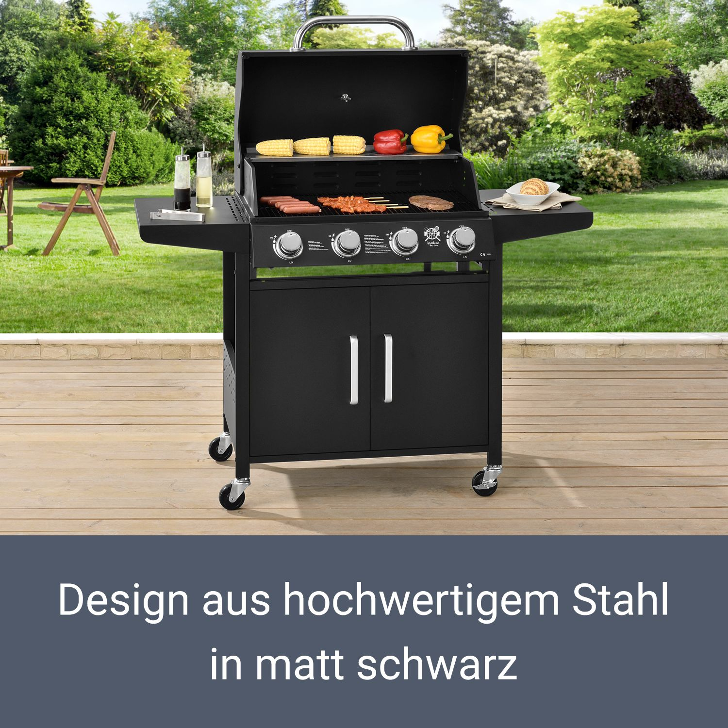 bbq grillwagen gasgrill idaho edelstahl barbecue garten grillen broilcue ebay. Black Bedroom Furniture Sets. Home Design Ideas