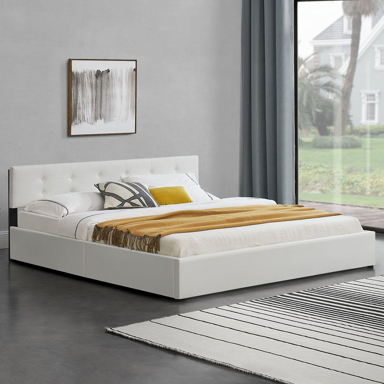 polsterbett doppelbett kunstlederbett bettgestell 180 x 200 cm mit matratze neu ebay. Black Bedroom Furniture Sets. Home Design Ideas