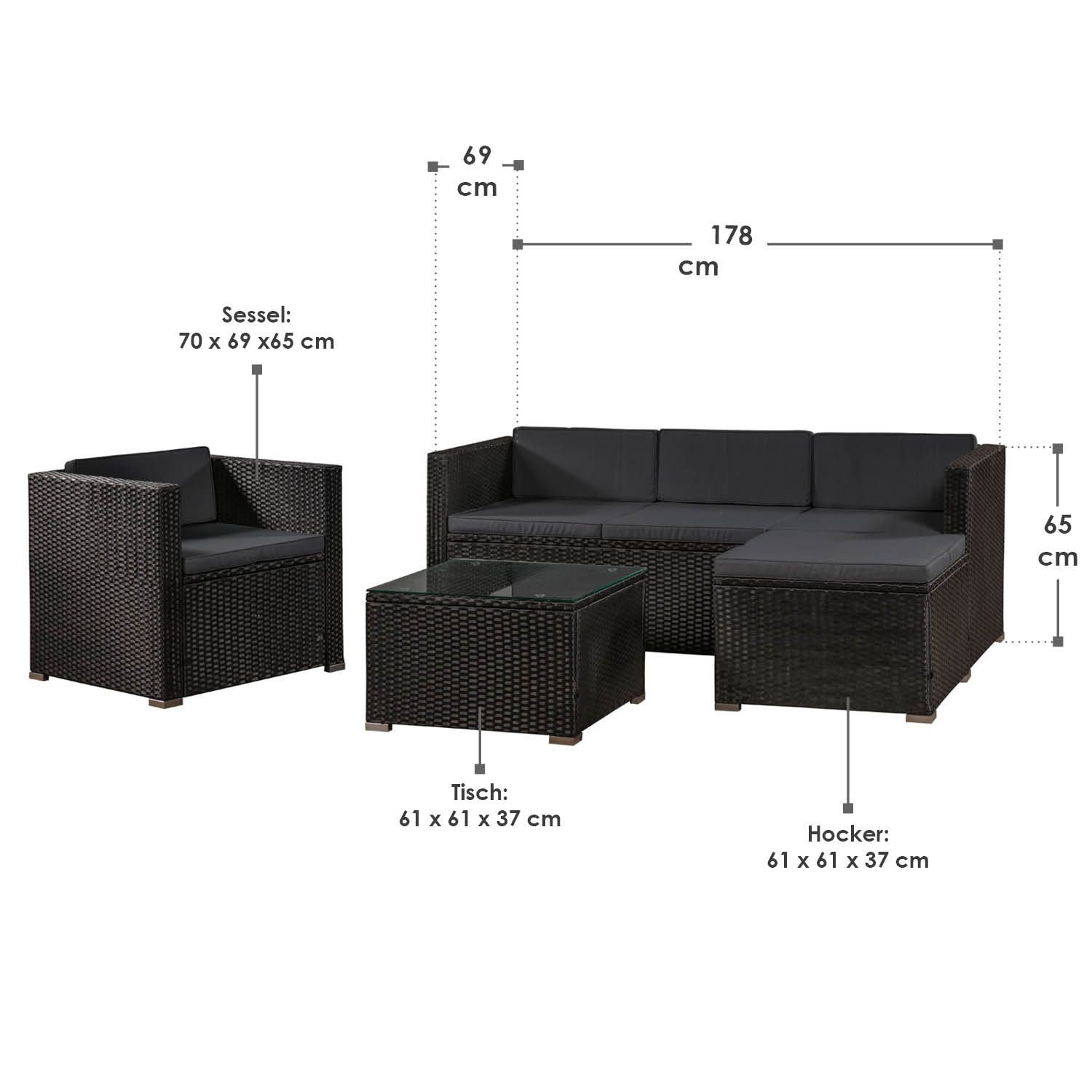 polyrattan gartenm bel lounge rattan gartenset sitzgruppe rattanm bel artlife ebay. Black Bedroom Furniture Sets. Home Design Ideas