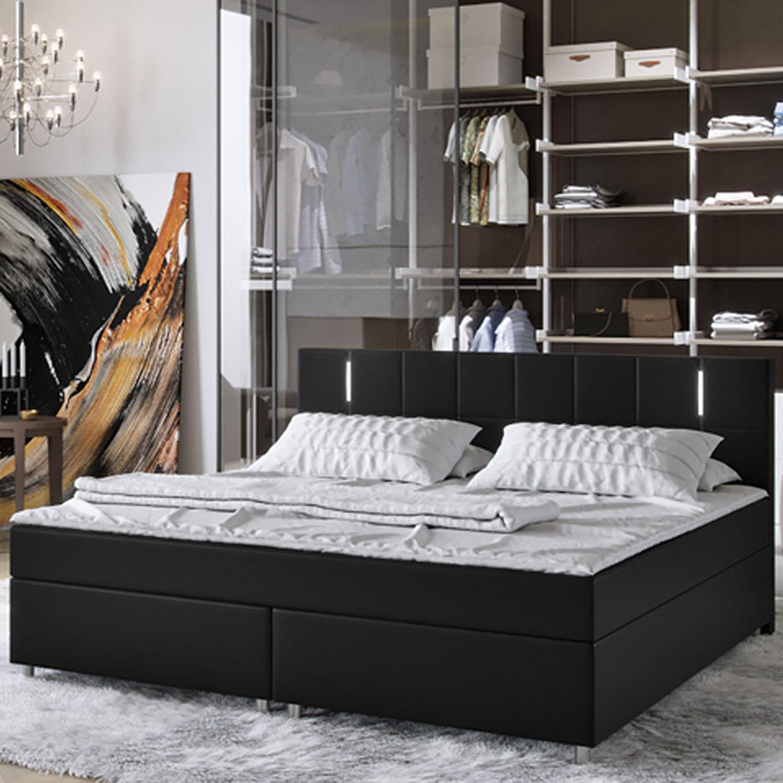 boxspringbett doppelbett hotelbett federkern topper pu leder stoff 140 180x200 ebay. Black Bedroom Furniture Sets. Home Design Ideas