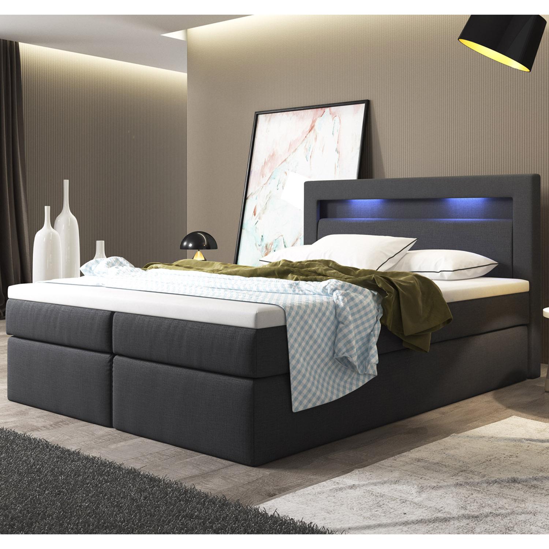 Beeindruckend Doppelbett Mit Bettkasten Dekoration Von Boxspringbett-bettkasten-doppelbett-hotelbett-federkern-led-140-180-