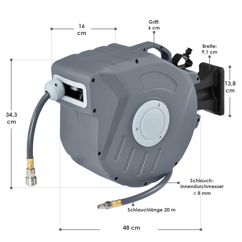 Gesamtmaße vom Automatischer Druckluft-Schlauchaufroller Pressure 20m