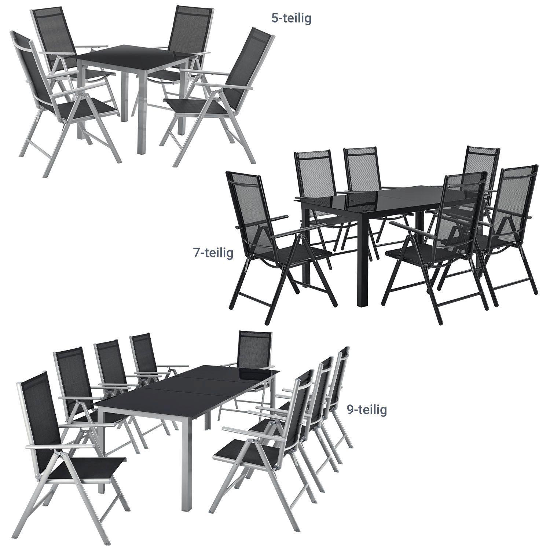 Aluminium Sitzgruppe Gartenmobel Set Gartenset Alu Essgruppe Klappstuhl Juskys Ebay
