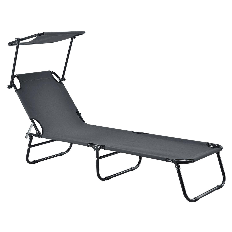 Gartenliege Sonnenliege Liege Strandliege Grau Klappbar Mit Sonnendach Juskys Ebay